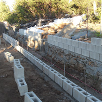 Retaining Wall Before in Poway